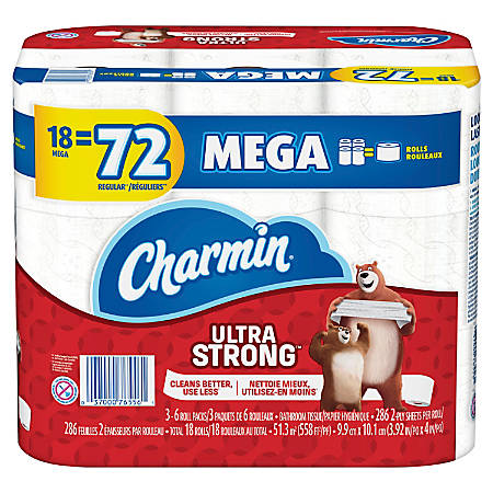 "Charmin Ultra Strong 2-Ply Mega-Roll Bathroom Tissue, 4"" x 558', White, 286 Sheets Per Roll, Pack Of 18 Rolls"
