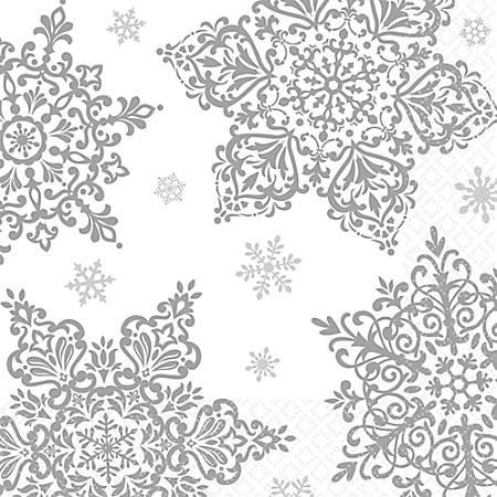 "Amscan Christmas Shining Season 2-Ply Beverage Napkins, 5"" x 5"", Silver, 125 Napkins Per Pack, Case Of 2 Packs"