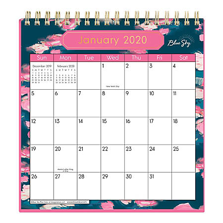"Blue Sky™ Wirebound Desk Calendar With Stand, 6"" x 6"", Rosine, January to December 2020"