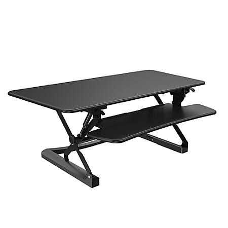 """FlexiSpot Height-Adjustable Standing Desk Riser With Removable Keyboard Tray, 47"""" W, Black"""
