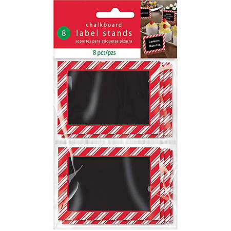 "Amscan Christmas Chalkboard Label Stands, 2-3/8"" x 3-3/8"", Red, 8 Stands Per Pack, Case Of 3 Packs"