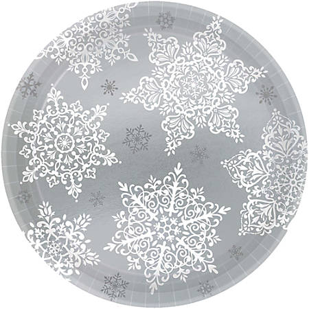 "Amscan Christmas Shining Season Paper Plates, 7"", Silver/White, 60 Plates Per Pack, Set Of 2 Packs"
