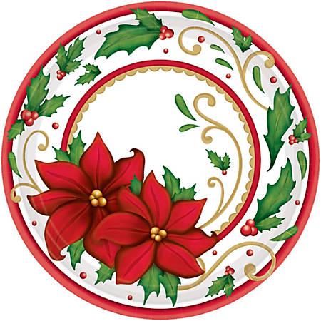 "Amscan Christmas Winter Botanical Paper Plates, 7"", 60 Plates Per Pack, Set Of 2 Packs"