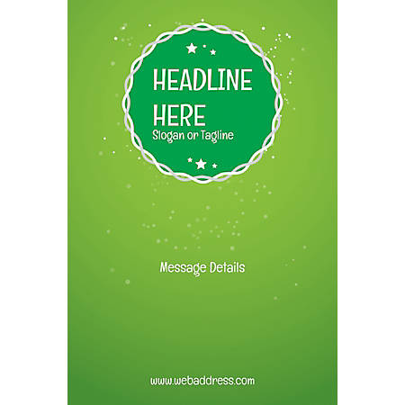Adhesive Sign, Green Background, Vertical