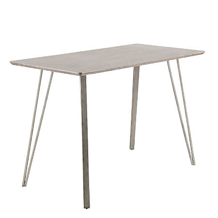 Lumisource Sedona Industrial Counter Table, Rectangular, Dark Brown/Antique
