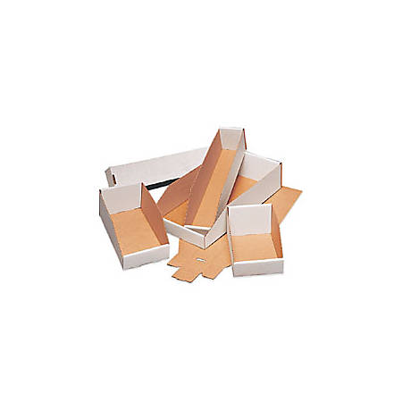 """Office Depot® Brand Open Top Bin Boxes, 12"""" x 4"""" x 4 1/2"""", Oyster White, Pack Of 50"""