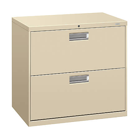 """HON® Brigade® 600 Series Lateral File, 2 Drawers, 28 3/8""""H x 42""""W x 19 1/4""""D, Putty"""