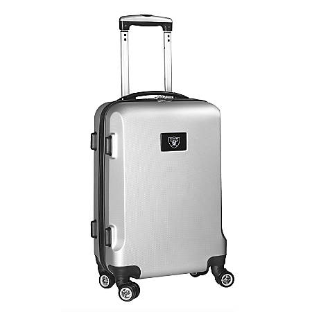 """Denco 2-In-1 Hard Case Rolling Carry-On Luggage, 21""""H x 13""""W x 9""""D, Oakland Raiders, Silver"""