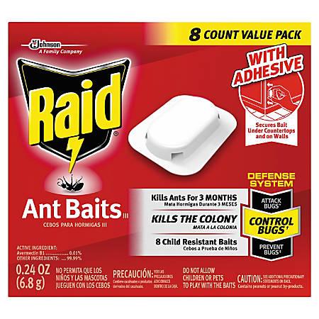 Raid® Ant Bait, III, 0.24 Oz, 8 Bait Cartridges Per Box, Pack Of 12 Boxes