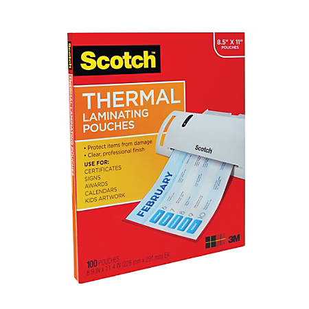 """Scotch™ Thermal Laminating Pouches, 8 7/8"""" x 11 3/8"""", Pack Of 100"""