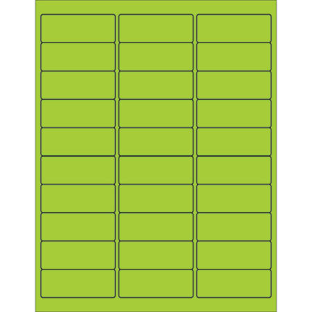 "Office Depot® Brand Labels, LL173GN, Rectangle, 2 5/8"" x 1"", Fluorescent Green, Case Of 3,000"