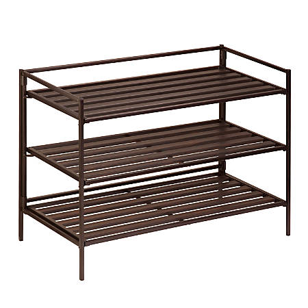 "Honey-Can-Do 3-Tier Stackable Shoe Rack, 18 1/2""H x 26 5/8""W x 12 1/8""D, Brown"