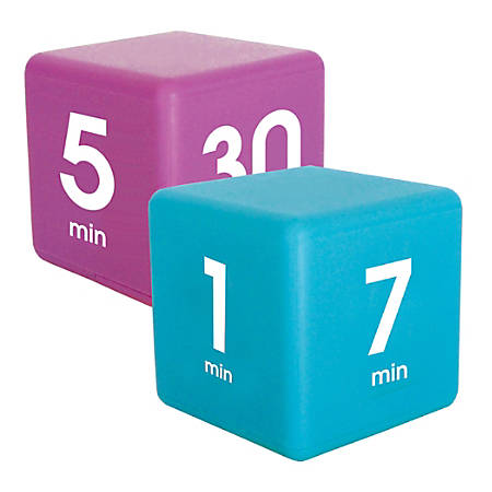 Datexx Time Cube® Preset Timers, Blue/Purple, Pre-K - College, Pack Of 2