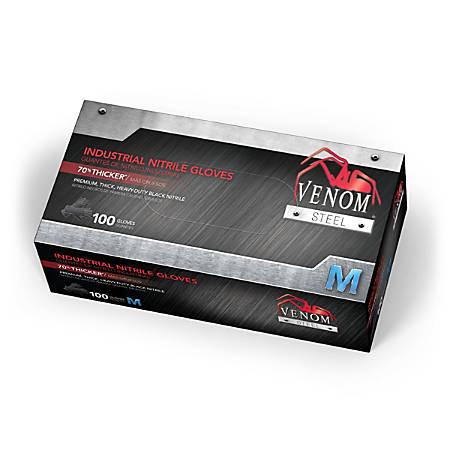 Medline Venom Steel Nitrile Industrial Gloves, Medium, Black, Pack Of 1,000