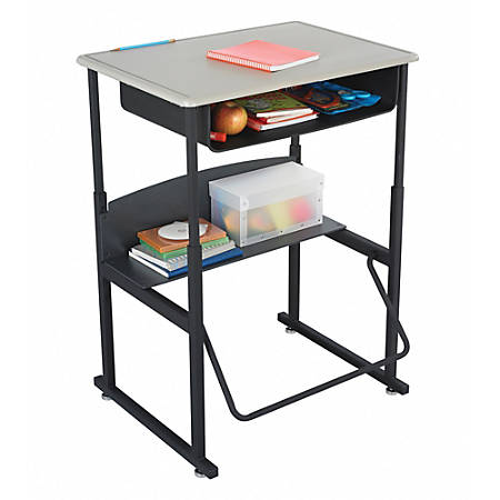 """Safco® AlphaBetter® Adjustable-Height Stand-Up Desk, with Book Box, 28"""" x 20"""" Top, Beige/Black"""