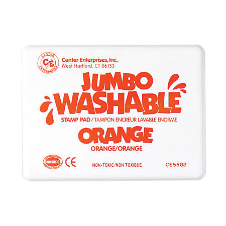 "Center Enterprise Jumbo Washable Unscented Stamp Pads, 6 1/4"" x 4"", Orange, Pack Of 2"