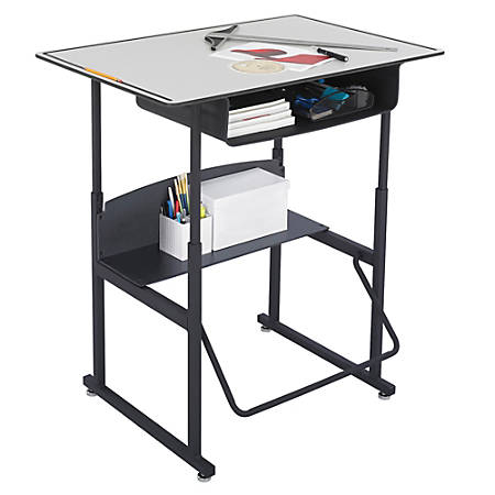 "Safco® AlphaBetter® Adjustable-Height Stand-Up Desk, with Book Box, 36"" x 24"" Top, Gray/Black"