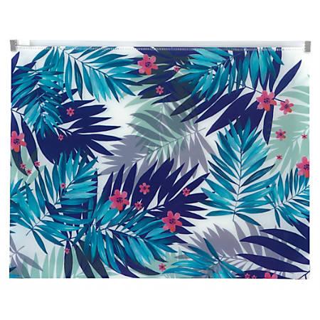 "Office Depot® Brand Zipper Envelope, 1-1/4"" Expansion, Letter Size, Palms"