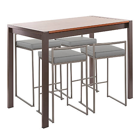 Enjoyable Lumisource Fuji Industrial Counter Height Dining Table With 4 Chairs Antique Metal Walnut Gray Item 8023414 Spiritservingveterans Wood Chair Design Ideas Spiritservingveteransorg