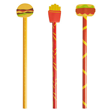 Wood Fashion Pencil With Topper, #2, Fast Food
