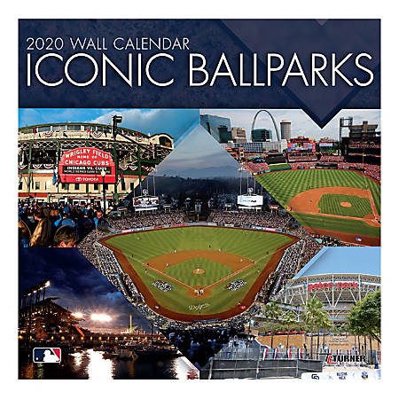 """Turner Licensing Monthly Wall Calendar, 12"""" x 12"""", Iconic Ballparks, 2020"""