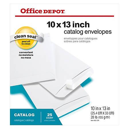 "Office Depot® Brand Clean Seal™ Catalog Envelopes, 10"" x 13"", White, Pack Of 25"