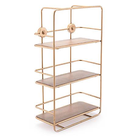 """Zuo Modern Stairs Shelf, 3 Shelves, 23 5/8""""H x 14 1/4""""W x 5 15/16""""D, Antique Gold"""