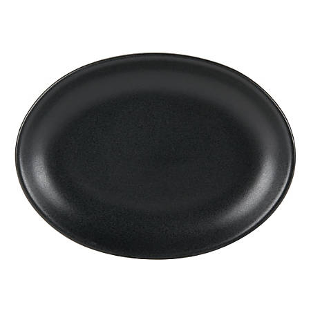 """Foundry Oval Ceramic Platters, 11 1/2"""" x 8 1/2"""", Black, Pack Of 12 Platters"""