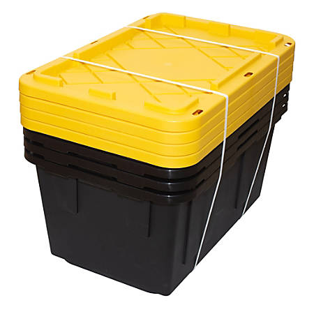 """GreenMade Professional Storage Boxes, 27 Gallons, 22 1/2""""H x 21""""W x 31""""D, Black/Yellow, Pack Of 4 Boxes"""