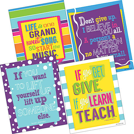 """Barker Creek Art Print Set, 8"""" x 10"""", I Believe In You Happy Collection, Pre-K To College, Pack Of 4"""