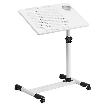 Flash Furniture Height Adjustable Contemporary Metal Mobile Computer Desk, White