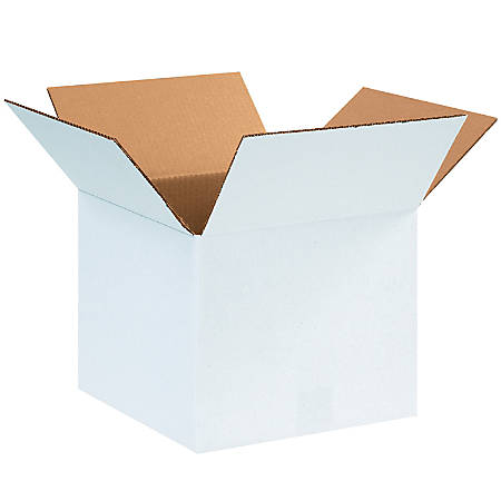 "Office Depot® Brand White Corrugated Cartons, 12"" x 12"" x 10"", Pack Of 25"