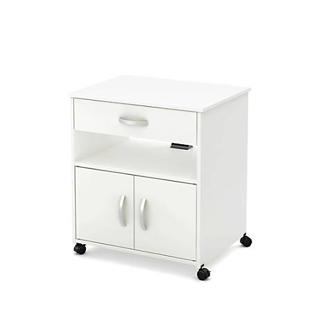 "South Shore Axess 19""D Vertical 1-Drawer Microwave Cart On Wheels, Pure White"