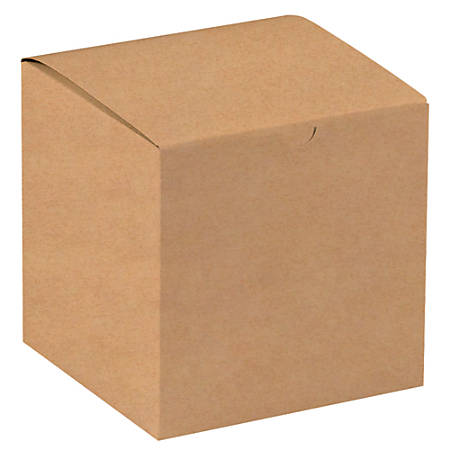 """Office Depot® Brand Gift Boxes, 7""""L x 7""""W x 7""""H, 100% Recycled, Kraft, Case Of 100"""