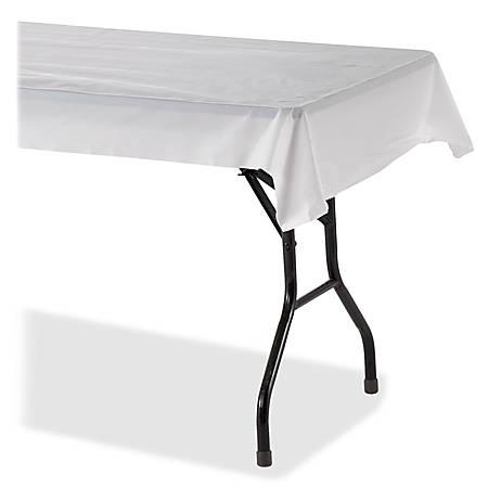 "Genuine Joe Banquet-size Plastic Tablecover - 300 ft Length x 40"" Width - 6 / Carton - Plastic - White"