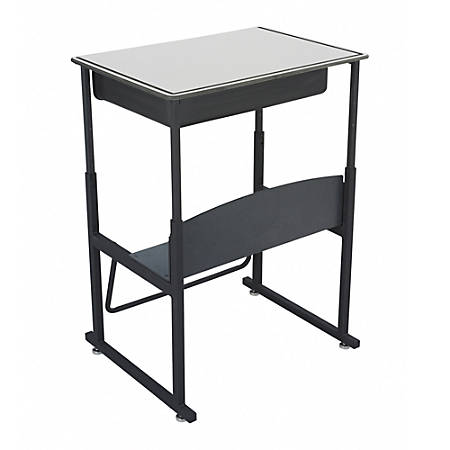 """Safco® AlphaBetter® Adjustable-Height Stand-Up Desk, with Book Box, 28"""" x 20"""" Top, Gray/Black"""