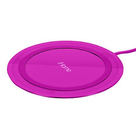 iHome Rainbow Ultra Slim QI Wireless Charging Pad, Pink, IH-QI1001P-P2
