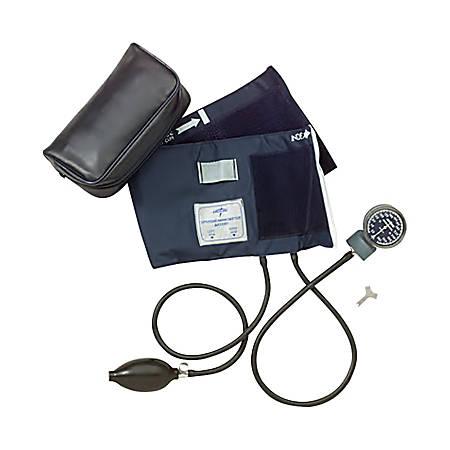 Medline Handheld Aneroid Sphygmomanometer, Adult Large, Blue