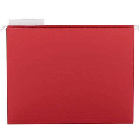 "Smead® Colored Hanging Folders, 8 1/2"" x 11"", 10% Recycled, Red, Box Of 25"
