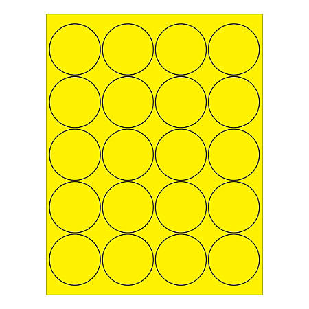 """Office Depot® Brand Circle Inkjet/Laser Labels, LL197YE, 2"""", Fluorescent Yellow, Pack Of 2,000 Labels"""