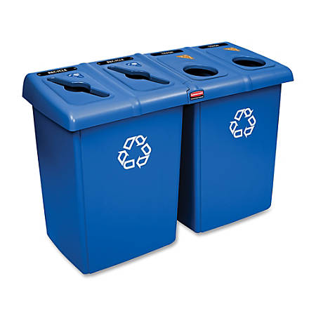 Rubbermaid 92-Gallon Glutton Recycling Station, Blue
