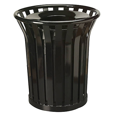 United Receptacle Americana 30% Recycled Steel Waste Receptacle, 36 Gallons, Black
