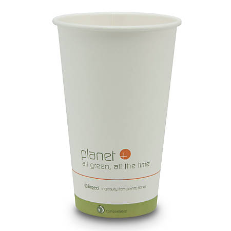 StalkMarket® Planet+ Compostable Hot Cups, 16 Oz, White, Pack Of 1,000 Cups
