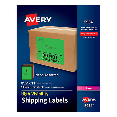"""Avery® High-Visibility Permanent Shipping Labels, 5934, 8 1/2"""" x 11"""", Assorted Colors, Pack Of 50"""