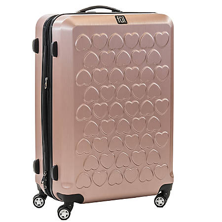"""ful Hearts Upright Rolling Suitcase, 29 1/2""""H x 19 1/4""""W x 12""""D, Gold"""