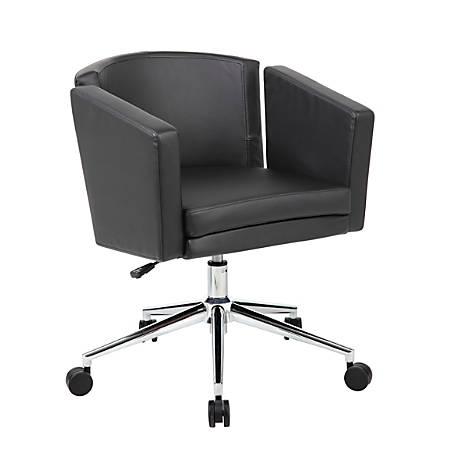 Boss Office Products Metro Club Mid-Back Desk Chair, Black Caressoft Plus/Chrome