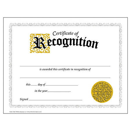 """TREND Certificates, Classic Certificate of Recognition, 8 1/2"""" x 11"""", Multicolor, Grades 7-8, Pack Of 30"""
