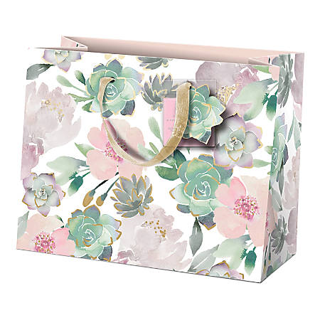 """Lady Jayne Gift Bag With Tissue Paper, Hang Tag, Horizontal, Garden Florals, 10""""H x 8""""W x 4""""D"""