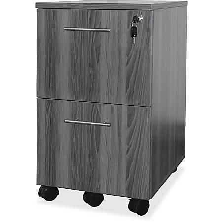 "Mayline Gray Laminate Mobile F/F Pedestal File - 18"" x 15.5"" x 26.8"" - 2 x File Drawer(s) - Material: Steel - Finish: Gray, Laminate"