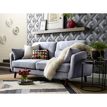 Elle Décor Chloe Mid-Century Modern Sofa, Light Gray/Chestnut